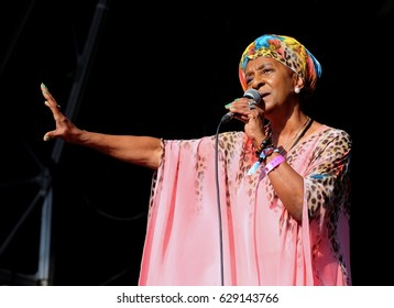 Camp Bestival - July 31 2016: Jamaican reggae artist Dawn Penn performing with her band at Camp Bestival, Lulworth, Dorset, July 31st 2016 in Dorset, UK