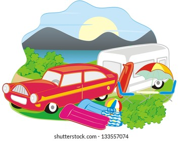 camp, car with caravan in nature, banner