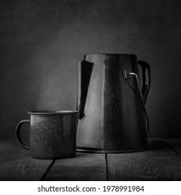 Camp coffee pot and mug