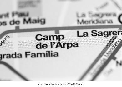 Camp de l'Arpa Station. Barcelona Metro map.