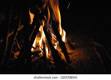 Camp fire in the dark