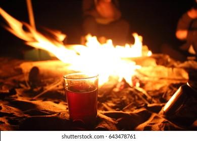 camp fire in desert