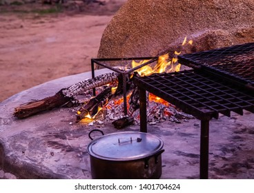 Camp fire at the Erongo Mountains in northern Namibia during summer