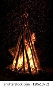 camp fire stack in the night