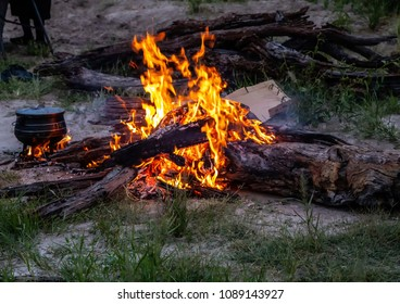 Camp fire in the wilderness of Botswana