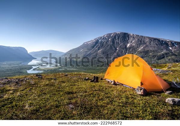 Camp in Lapland Sweden Rautasjaure