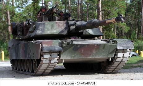 Camp Lejeune, North Carolina - September 21, 2011: US Marine Corps M1 Abrams conduct training.