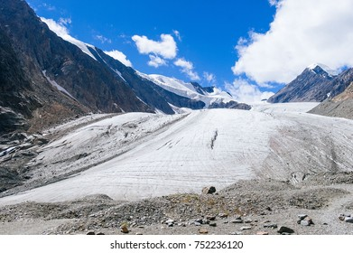 The camp in the mountains. Of a high mountain. Glaciers