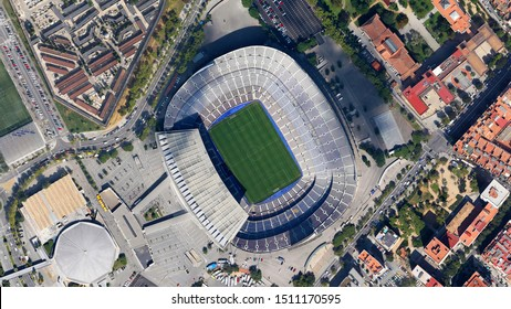 Camp Nou stadium Barcelona, looking down aerial view from above