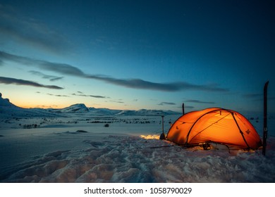 Camp on the Kungsleden in the wintertime