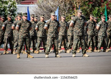 Camp Pendleton, CA / USA - 08/14/2018: US Marines at Advanced Weapons Training Graduation