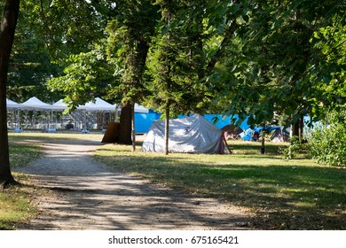 The camp of the protest movement against the Hungarian government in the City park of Budapest, Hungary