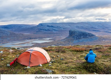 Camp in the Sarek national park in Northern Sweden, Lapland in autumn