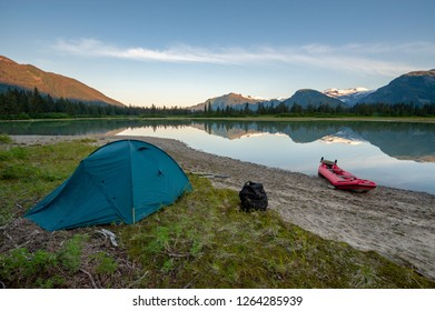 Camp at Shakes Slough near the Stikine river delta, Tongass national forest, Alaska, USA
