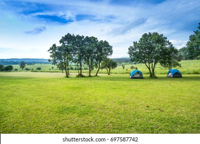 Camp site in the forest, campground in the Tung Saleang Luang National Park, Thailand