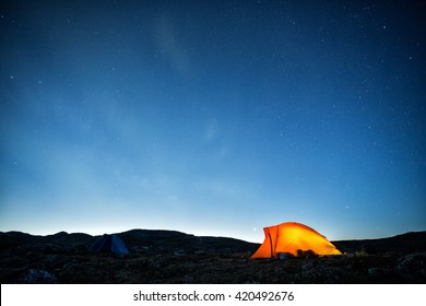 Camp, tent and Northern Lights in Lapland - Sweden