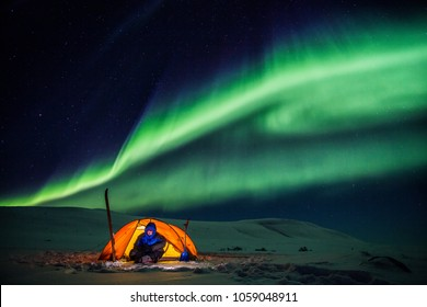 Camp under Northern Lights
