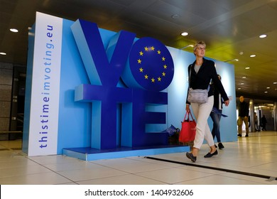 A campaign area to encourage EU citizens to vote in the European Parliament elections on display at Luxembourg Station in Brussels, Belgium, 22 May 2019.