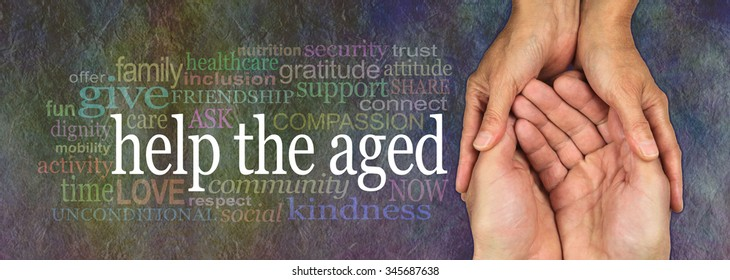 Campaign banner to Help the Aged  - wide banner with a woman's hands holding a man's cupped hands with a HELP THE AGED word cloud on the left, on a rustic dark multicolored stone effect background