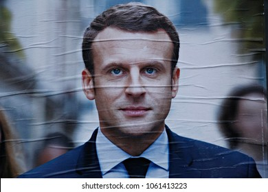 Campaign posters of French presidential election candidate Emmanuel Macron in Lille, France on April 23, 2017