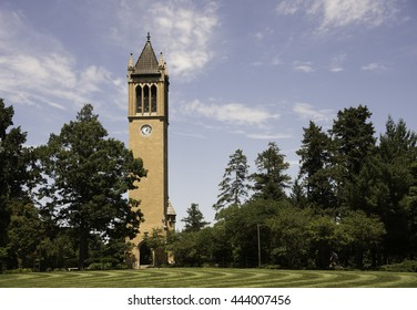 Campanile on Iowa State Campus with Blue Sky.