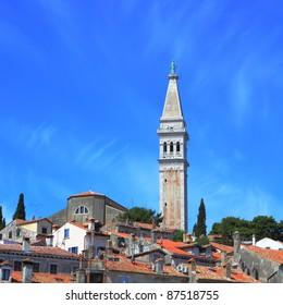 campanile of St. Euphemia's Basilica at historic center of Rovinj, Croatia