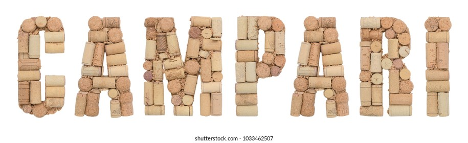 Campari made of wine corks Isolated on white background
