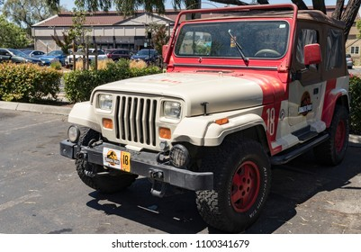 Campbell, California, USA - May 28, 2018: Jurassic Park Jeep Wrangler Number 18, as seen in the Jurassic Park and Jurassic World movie franchise.