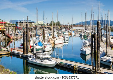 Campbell River Harbour on a Clear Summer Morning. Vancouver Island, BC, Canada.