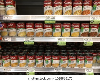 Campbell's Soup section at local Publix supermarket Saint Augustine, Florida USA. February 19, 2018