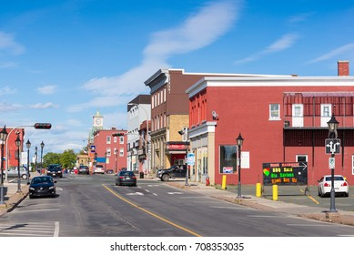 Campbellton, New Brunswick - August 10, 2017: Main street in the town of Campbellton in the north part of New Brunswick, Canada