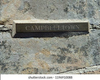Campbeltown antique sign engraved in a metal plate