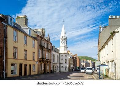 Campbeltown main street and city hall tower. Kintyre peninsula, Scotland.