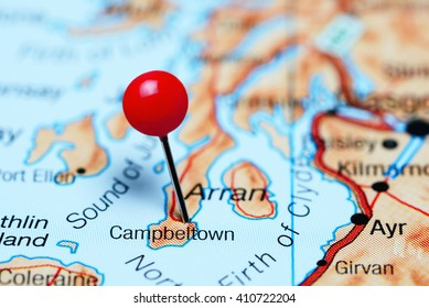 Campbeltown pinned on a map of Scotland