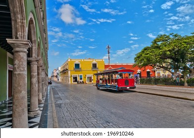 CAMPECHE, MEXICO - APRIL 19, 2014: day view of main square in Campeche, Mexico. The city was founded in 1540 by Spanish conquistadores atop pre-existing Maya city of Canpech