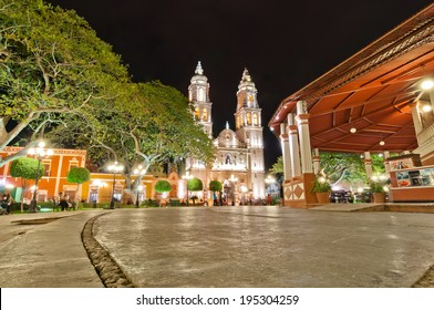 CAMPECHE, MEXICO - APRIL 19,2014: night view of main square and Cathedral in Campeche, Mexico. The city was founded in 1540 by Spanish conquistadores atop the pre-existing Maya city of Canpech