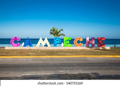 CAMPECHE, MEXICO - DEC 14, 2015: Asta de Bandera, Seafront of Campeche on Dec 14, 2015,Yucatan, Mexico .  America.