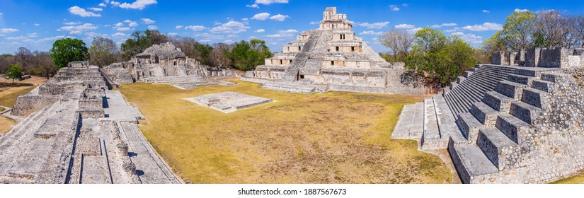 Campeche, Mexico. Edzna Mayan City. Panoramic view of the Pyramid of the Five Floors and Gran Acropolis.