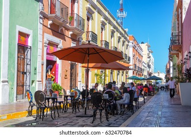 CAMPECHE, MEXICO - FEBRUARY 23: Busy outdoor restaurants on a pedestrian street in Campeche, Mexico on February 23, 2017