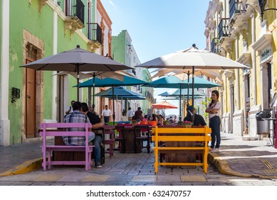 CAMPECHE, MEXICO - FEBRUARY 23: Pedestrian street with outdoor seating in Campeche, Mexico on February 23, 2017