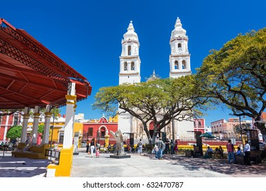 CAMPECHE, MEXICO - FEBRUARY 23: View of the plaza and cathedral in the center of Campeche, Mexico on February 23, 2017