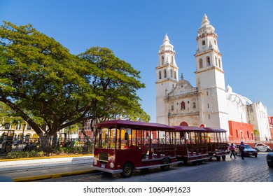 Campeche, Mexico, January 10, 2018: Plaza de la Independencia, in Campeche, Mexico's Old Town of San Francisco de Campeche