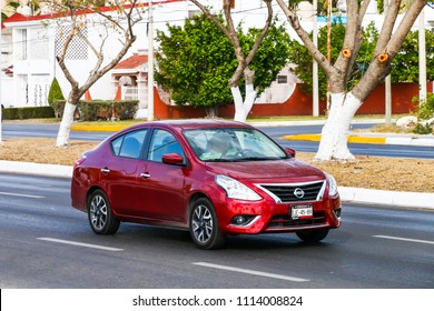 Campeche, Mexico - May 20, 2017: Motor car Nissan Versa in the city street.