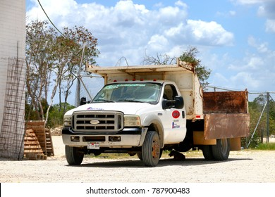 Campeche, Mexico - May 20, 2017: Dump truck Ford F-550 Super Duty at the countryside.