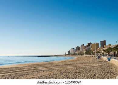 Campello beach under the cozy early morning sun