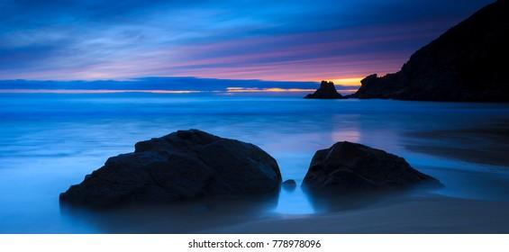 Campelo Beach at Dusk Ferrol Galicia Spain