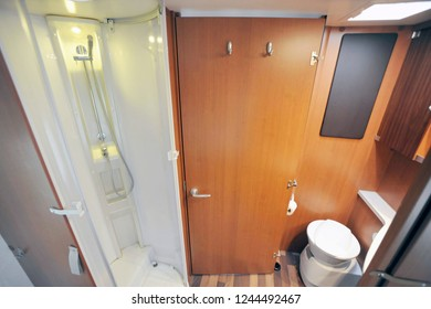 Camper bathroom with shower, wc and sink