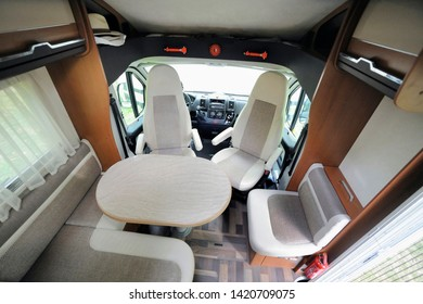 Camper Cabin Interior With Rotating Seats in Recreation Vehicle