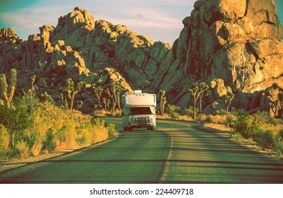 Camper in California. RVing in Souther California. Joshua Trees National Park Landscape. Vintage Color Grading.