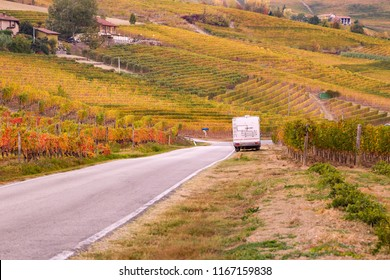 Camper in the Langhe region in autumn, Piedmont, Italy